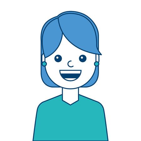 Het gezicht die van de portretvrouw gelukkig en blauw de illustratie blauw en groen ontwerp glimlachen van het uitdrukkingsbeeld Stock Illustratie