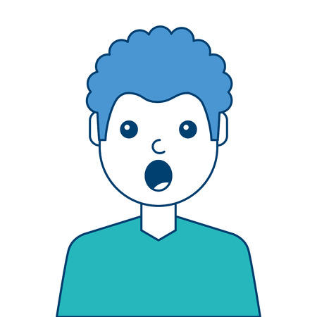 portrait surprised man face expression vector illustration blue and green design