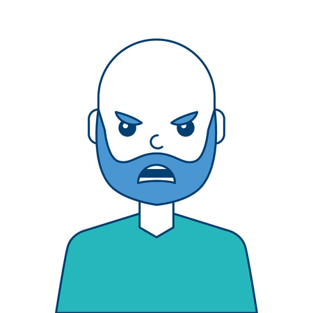 Portrait man face angry expression cartoon vector illustration blue and green design Illustration