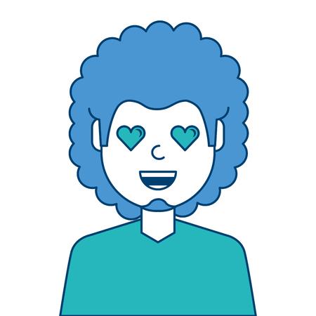 Gelukkig meisje met haar het glimlachen gezicht en van de de ogenillustratie van de hartvorm blauw en groen ontwerp. Stock Illustratie