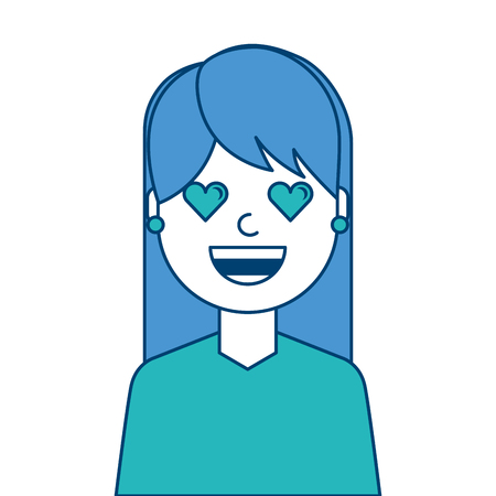 Happy girl with her smiling face and heart shape eyes illustration blue and green design.