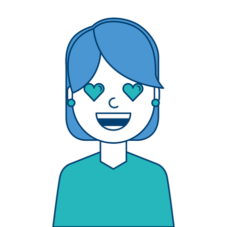 Happy girl with her smiling face and heart shape eyes illustration blue and green design