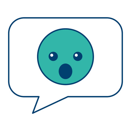 Speech bubble and surprised emoticon vector illustration blue and green design 向量圖像