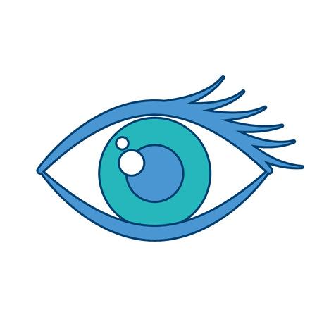 Cartoon eye look eyebrow visual icon vector illustration blue and green design
