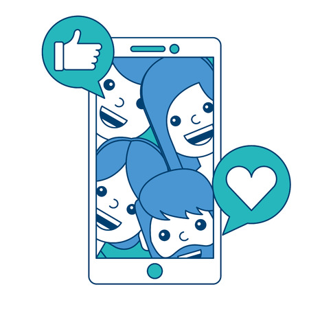 Phone people talking hand like and love heart vector illustration blue and green design. Reklamní fotografie - 93196945