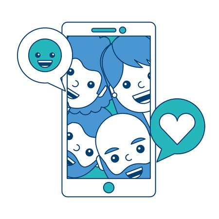 Les gens de téléphone qui aiment l & # 39 ; amour et souriant émoticône souriant et vert conception . vector illustration . Banque d'images - 93196946