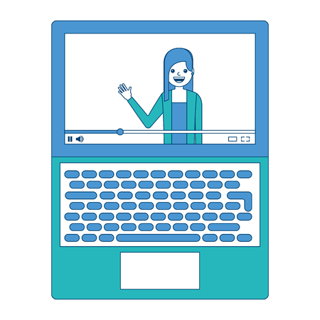 Influencer waving hand video content on screen laptop vector illustration blue and green design