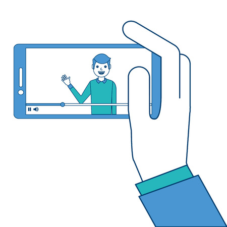 Hand holding smartphone with video blogger on screen vector illustration blue and green design