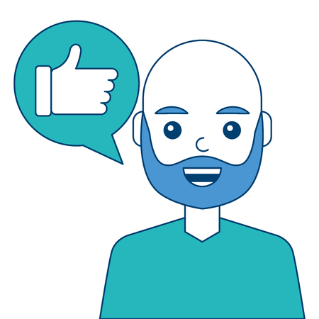 Man with hand like in speech bubble vector illustration blue and green design