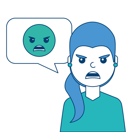 Young woman with angry emoticon in speech bubble vector illustration blue and green design