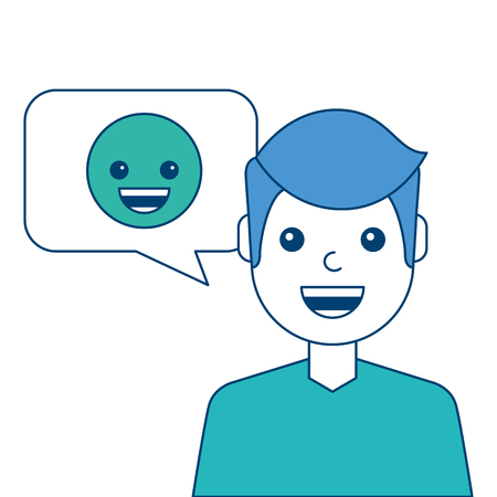 Man with smile emoticon in speech bubble