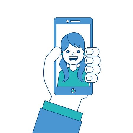 画面上のベクトルイラスト青と緑のデザインを話す男性と手持ちの携帯電話。