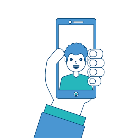 hand holding phone with man on screen talking vector illustration blue and green design