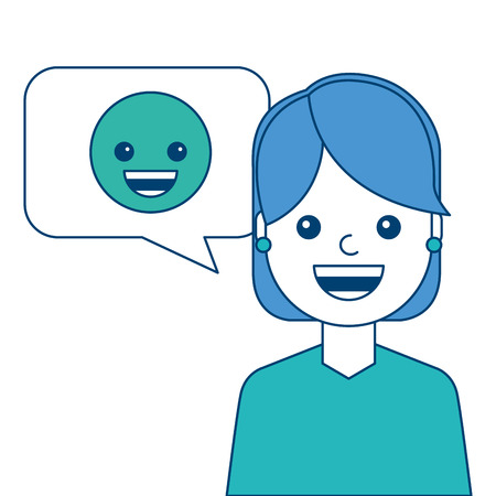 Woman with smile emoticon in speech bubble