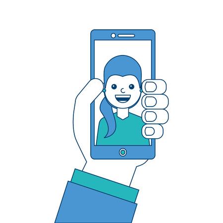 画面上の話ベクトルイラスト青と緑のデザインの男性と手持ち電話  イラスト・ベクター素材
