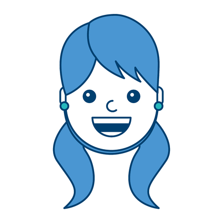 Woman face smiling happy expression image vector illustration blue and green design