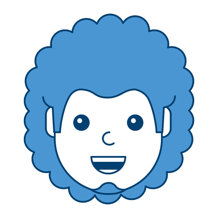 Character man face laughing happy image vector illustration blue design