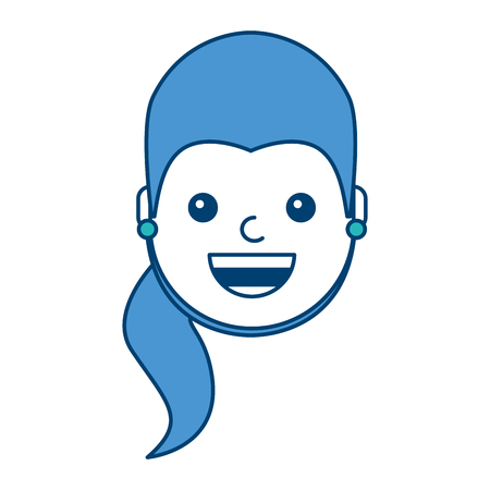 woman face smiling happy expression image vector illustration blue and green design 版權商用圖片