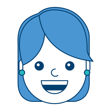 woman face smiling happy expression image vector illustration blue and green design 向量圖像