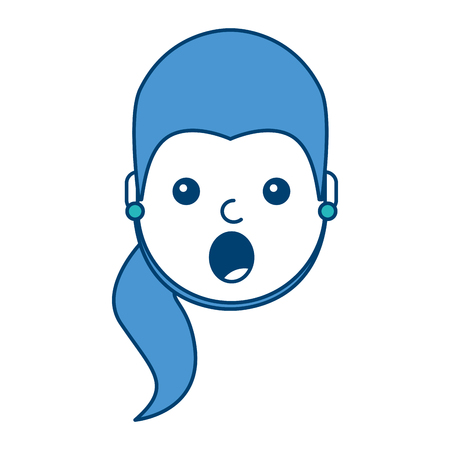 surprised young woman face expression facial vector illustration blue and green design