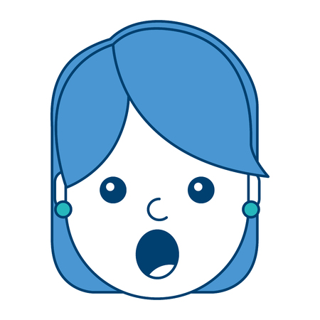 Surprised woman face expresion, facial style  illustration in blue design.
