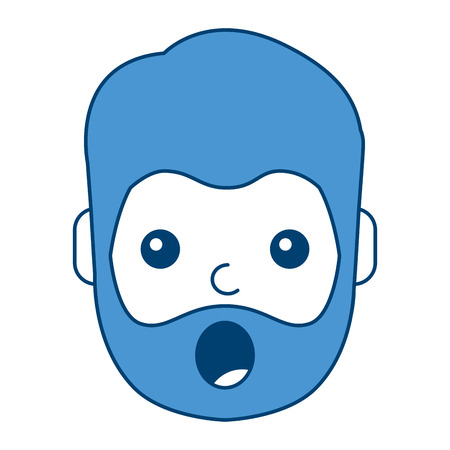 A surprised man face expresion facial style vector illustration blue design