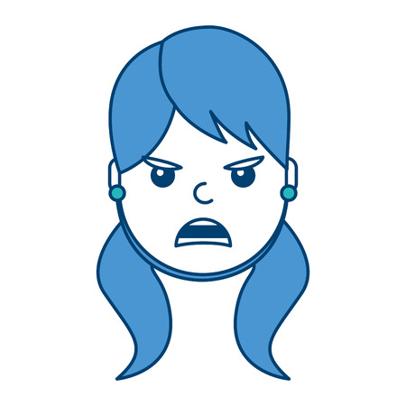 A pretty woman angry frustrated facial expression cartoon vector illustration blue and green design Illustration