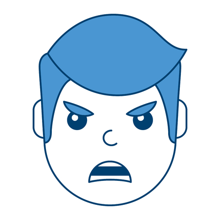 A young man face angry expression cartoon vector illustration blue design Illustration