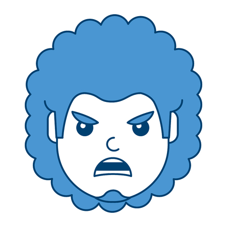A young man face angry expression cartoon vector illustration blue design Ilustrace