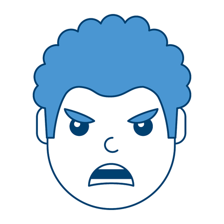 Young man face angry expression cartoon vector illustration blue design