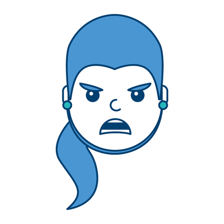 Pretty woman angry frustrated facial expression in cartoon illustration with blue and green design. 向量圖像