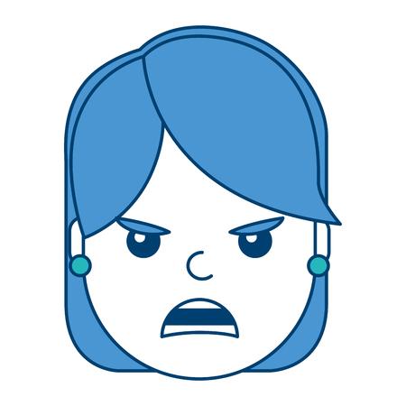 Mooi vrouw boos gefrustreerd vector de illustratie blauw en groen ontwerp van het gelaatsuitdrukkingbeeldverhaal