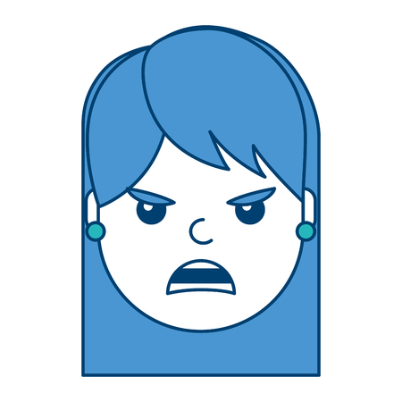 Pretty woman with angry frustrated facial expression in cartoon vector illustration with blue and green design.