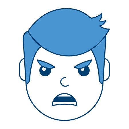 男は怒った表情漫画に直面