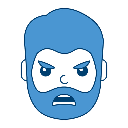 Man face angry expression cartoon