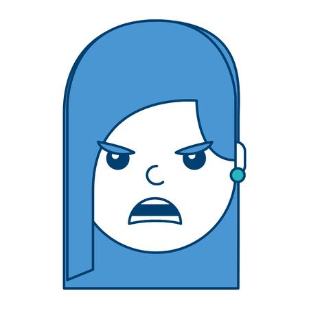 Mooie vrouwen boze gefrustreerde gelaatsuitdrukking in beeldverhaalillustratie met blauw en groen ontwerp. Stock Illustratie