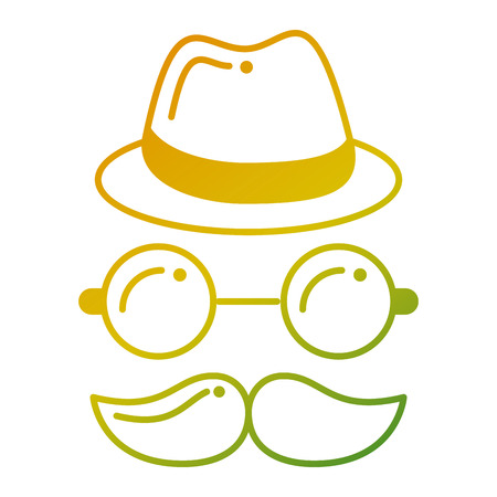 Hipster hoed, snor en bril geconfronteerd met vectorillustratie.