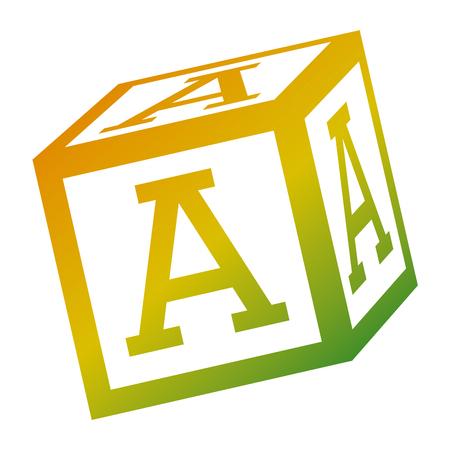 alphabet block toy education icon vector illustration Illustration