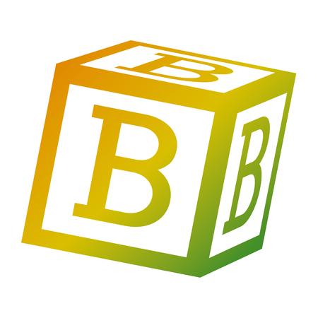 alphabet block toy education icon vector illustration Ilustração