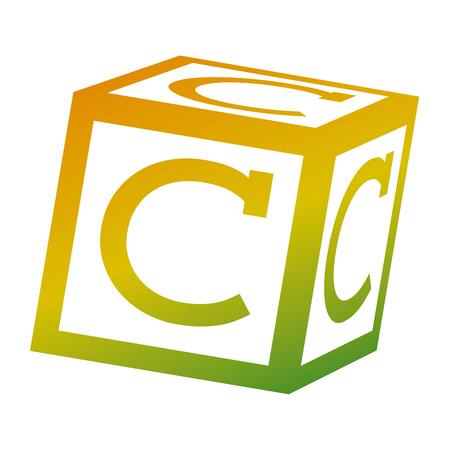알파벳 블록 장난감 교육 아이콘 벡터 일러스트 레이션