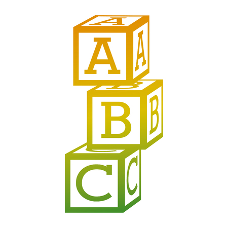 tower of alphabet block toy education icon vector illustration