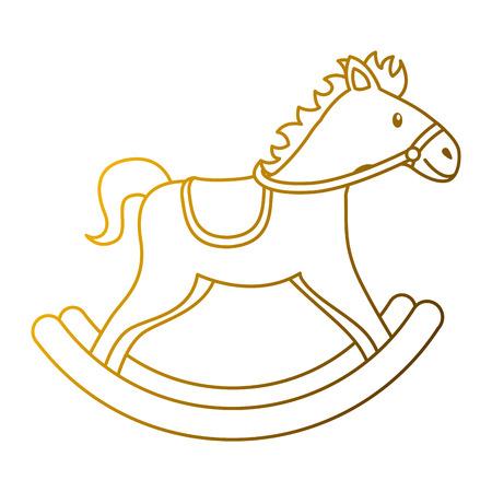 houten paard speelgoed schommelend spel pictogram vectorillustratie
