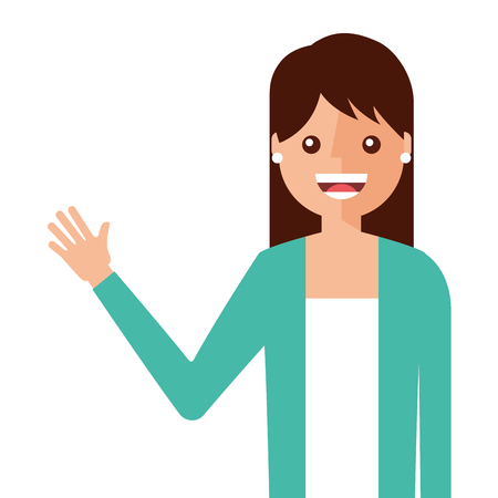Young woman waving happy avatar character. Vector illustration design.