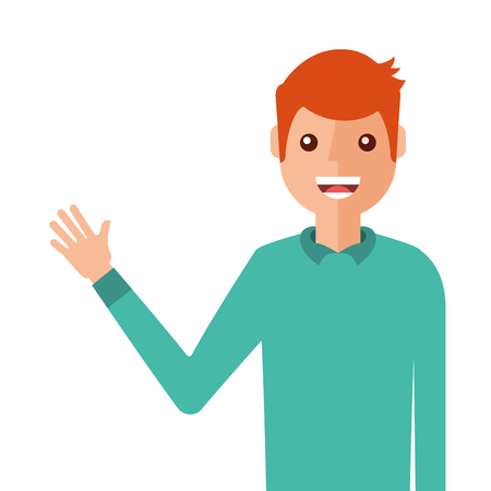 Young man waving happy avatar character. Vector illustration design.