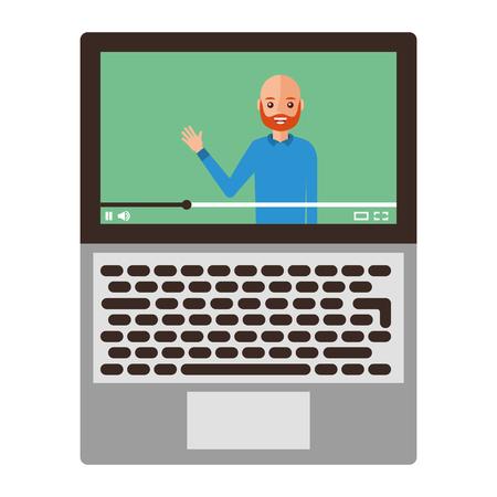 El agitar del hombre joven feliz en un ordenador portátil. Foto de archivo - 93246720