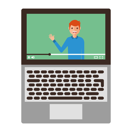 Young man waving happy in laptop. Avatar character vector illustration design.
