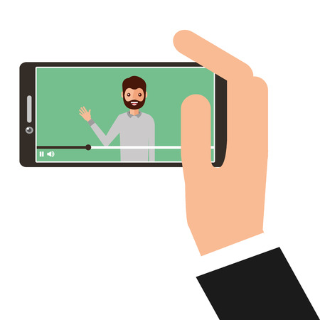 Young man waving happy in smartphone. Avatar character vector illustration.