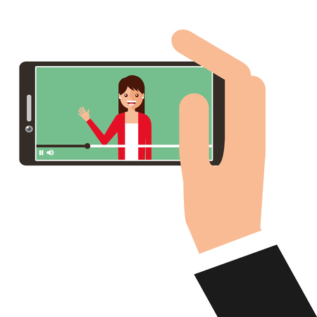Young woman waving happy in smartphone. Avatar character vector illustration.