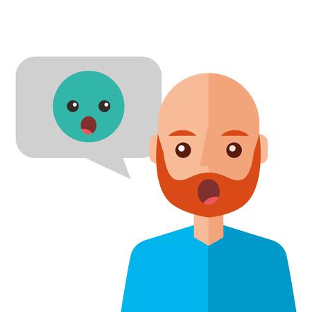 Berraschter junger Mann mit Emoticon. Avatar-Zeichen-Vektor-Illustration-Design. Standard-Bild - 93259941