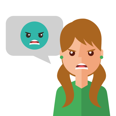 angry young woman with emoticon avatar character